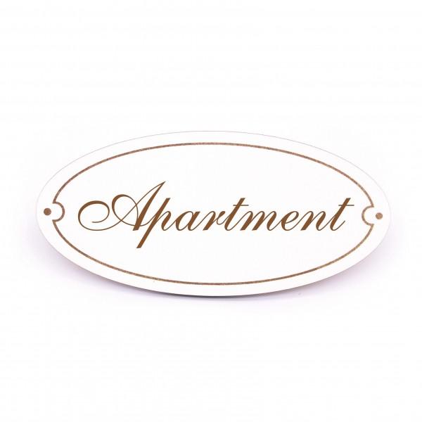 Ovales Türschild Apartment - selbstklebend - 15 x 7 cm