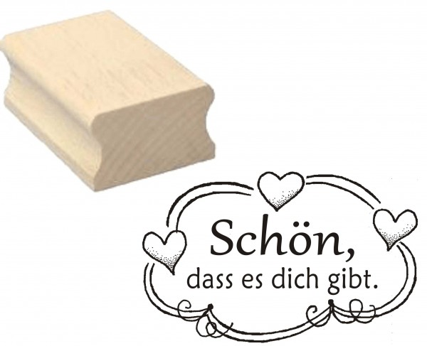 Stempel « SCHÖN, DASS ES DICH GIBT » Motivstempel Herzen 50 x 30 mm