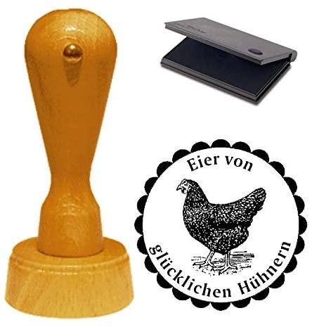 Stempel Eier von glücklichen Hühnern mit Motiv schwarzes Huhn Ø 40 mm - inkl. Kissen