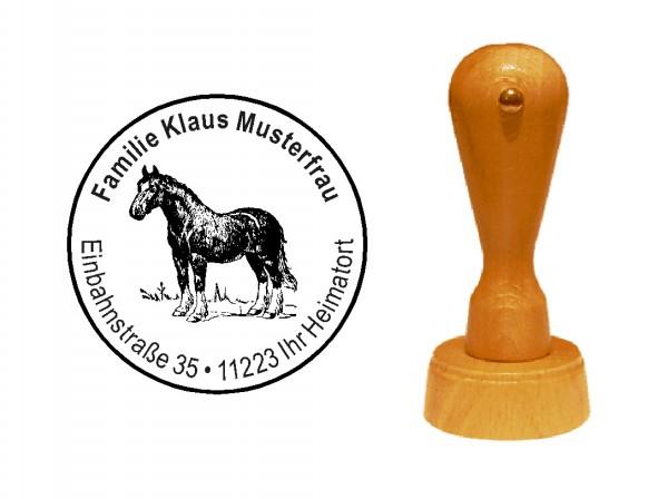 « Pferd 1 » Holzstempel mit persönlichem Wunschtext