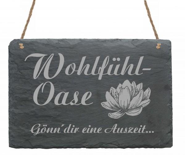 Schiefertafel Wohlfühl Oase - Gönn dir eine Auszeit - Schild Lotus Seerose 22 x 16 cm