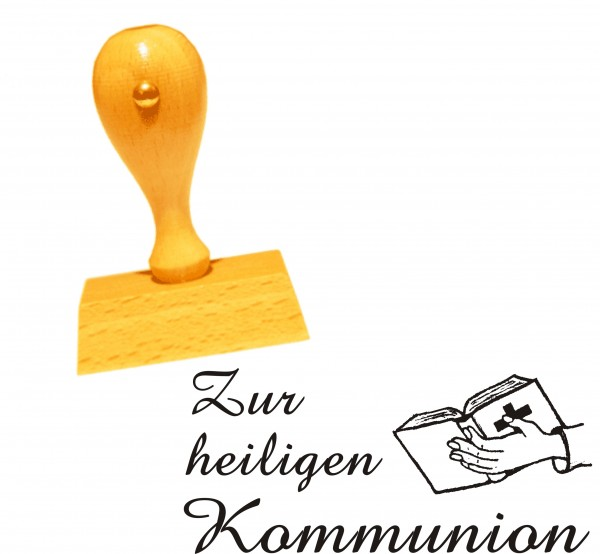 Stempel « Zur heiligen Kommunion » Motiv Bibel - 50 x 25 mm