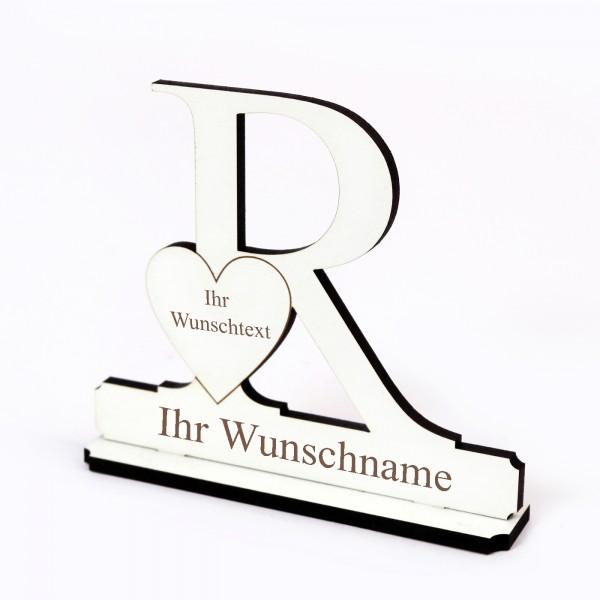 Buchstabe R mit Herz - Name und Wunschgravur - Schild zum Hinstellen