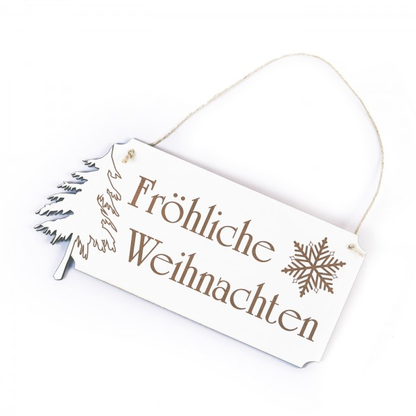 Schild Fröhliche Weihnachten - mit Motiv Tannenbaum Schneeflocke