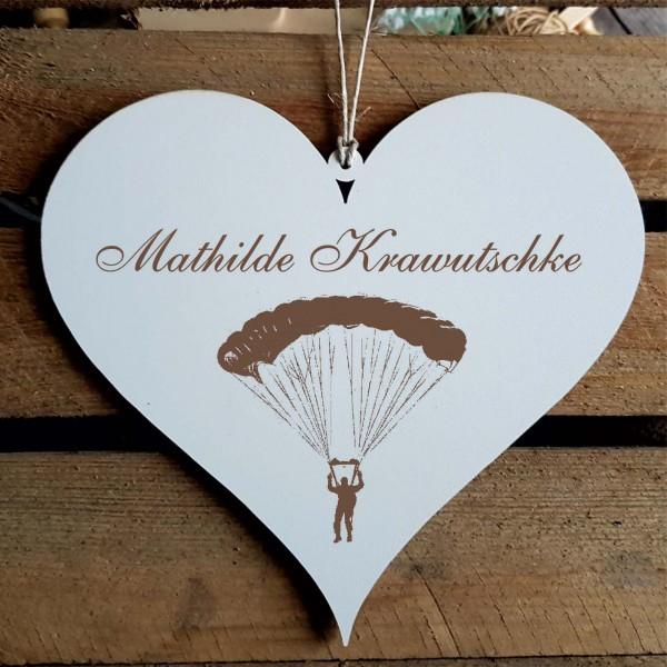 Herz Schild « Fallschirmspringer » mit Namen - Türschild zum Anhängen