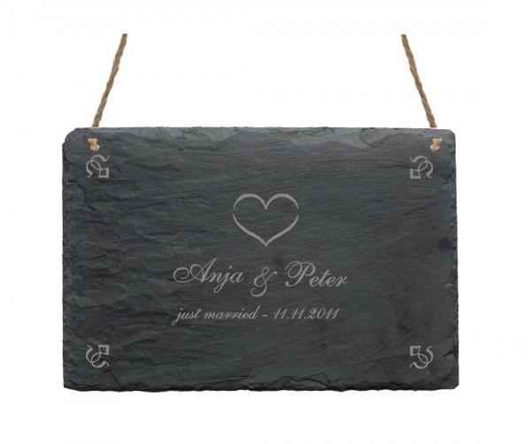 Personalisierte Schiefertafel « JUST MARRIED » Hochzeitsschild Name + Datum