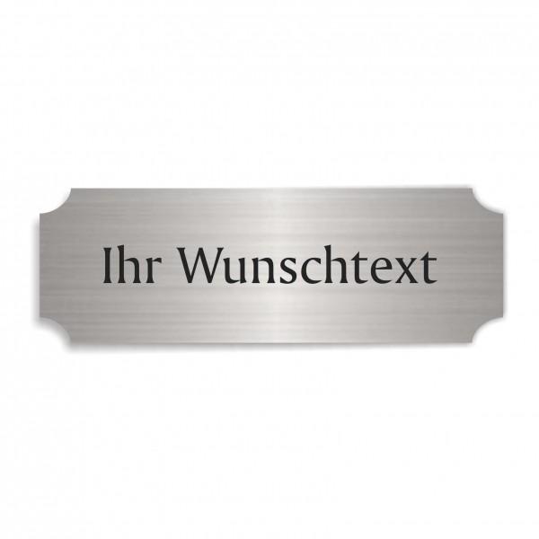 Schild « IHR WUNSCHTEXT » selbstklebend - Aluminium Look - silber