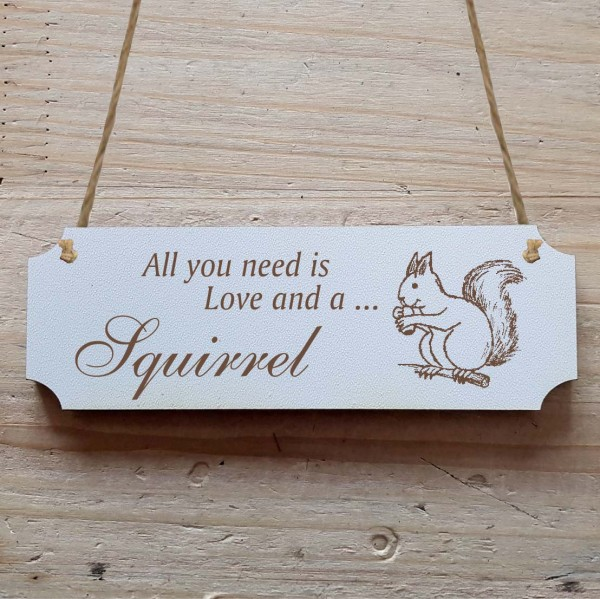 Dekoschild « All you need is Love and a Squirrel » Eichhörnchen 2