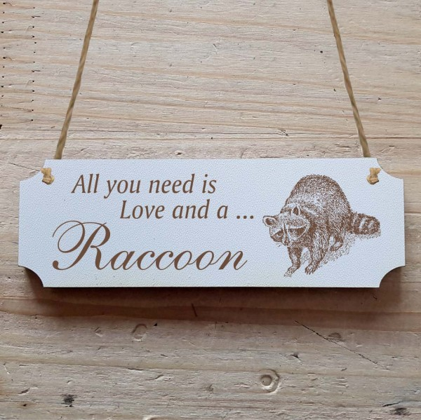Dekoschild « All you need is Love and a Raccoon » Waschbär 1