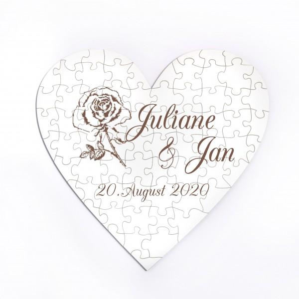 Herz Puzzle Hochzeit Rose Namen + Datum • 70 Teile • personalisiert
