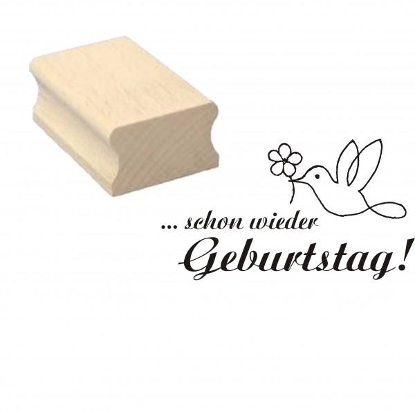 Stempel « Schon wieder Geburtstag » Vogel Blume - Motivstempel 50 x 30 mm