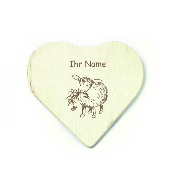 Herz Frühstücksbrettchen Schaf - inkl. Name - 17 x 17 cm
