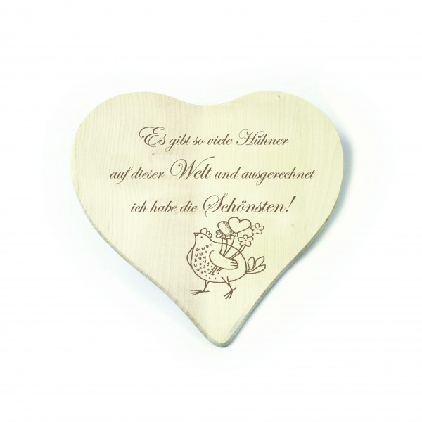 Herz Frühstücksbrettchen Die schönsten Hühner der Welt - Huhn mit Herzen 23 x 23 cm