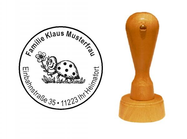 « Happy Marienkäfer » Holzstempel mit persönlichem Wunschtext