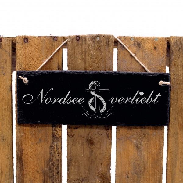 Schiefertafel Nordsee verliebt - Anker - Deko Schild 22 x 8 cm