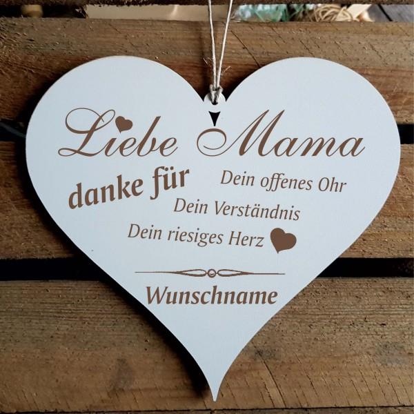 Herz Schild « DANKE MAMA » mit persönlichem Wunschnamen