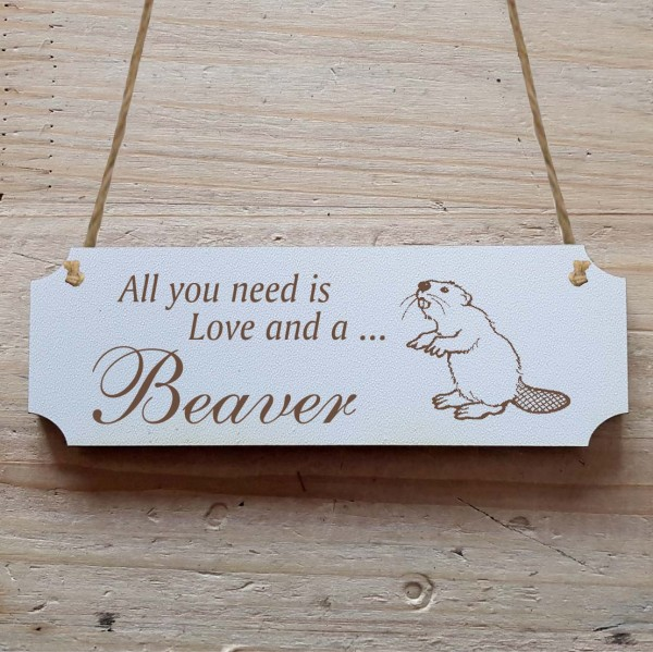 Dekoschild « All you need is Love and a Beaver » Biber 2