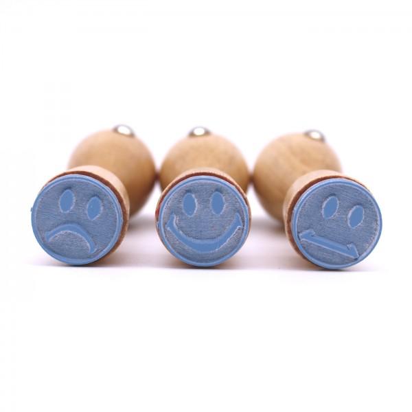 Stempel Smiley Set 02 - ca. Ø 20 mm - 3 Motivstempel