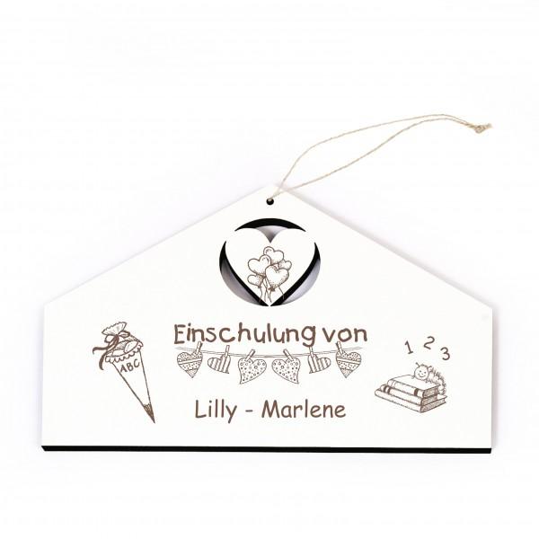 Schild Einschulung von + Name - zum Anhängen - mit Motiv Herzen Zuckertüte