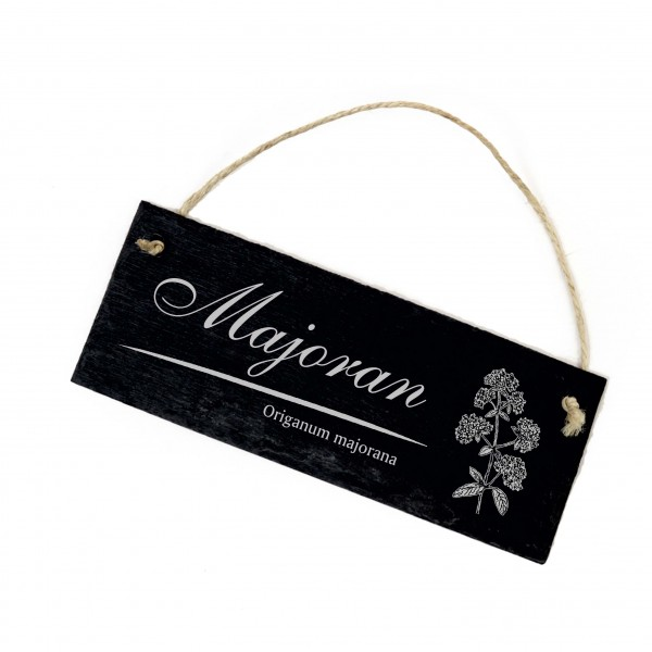 Schiefertafel Majoran - Origanum majorana - 22 x 8 cm - Küche Kräuter Garten