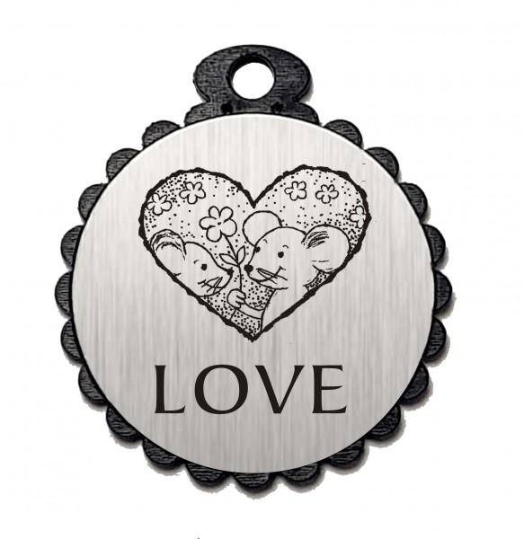 Runder Anhänger « LOVE » mit Motiv MÄUSE HERZ - Aluminium Look - silber