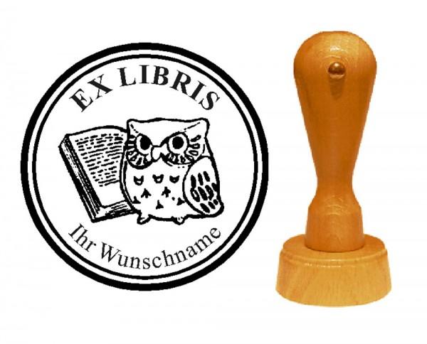 Ex Libris « Weise Lese-Eule » mit persönlichem Namen