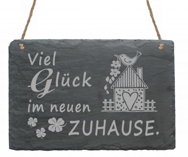 Schiefertafel « VIEL GLÜCK IM NEUEN ZUHAUSE » mit Motiv Vogelhaus