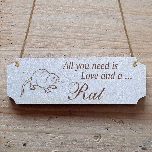Dekoschild « All you need is Love and a Rat » Ratte