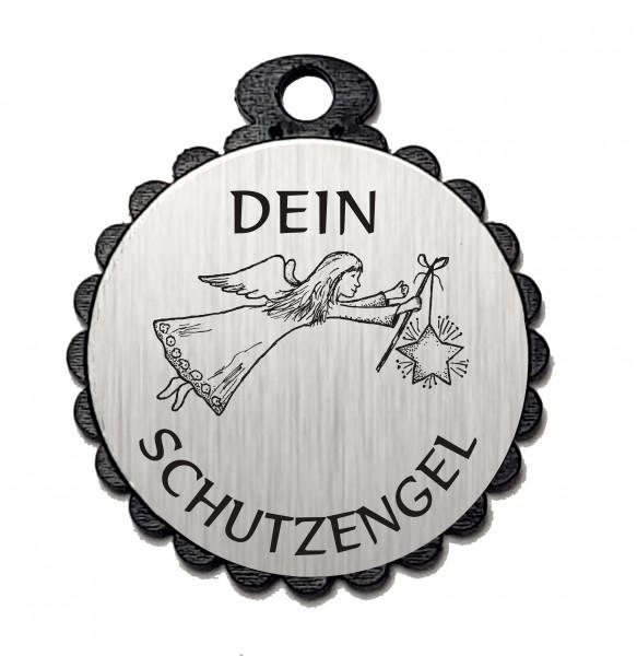 Runder Anhänger « DEIN SCHUTZENGEL 01 » mit Motiv ENGEL - Aluminium Look - silber