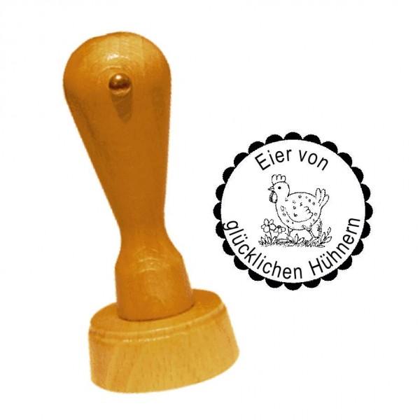Stempel « EIER VON GLÜCKLICHEN HÜHNERN 09 » Huhn auf der Wiese • inkl. Personalisierung Ø 20 mm