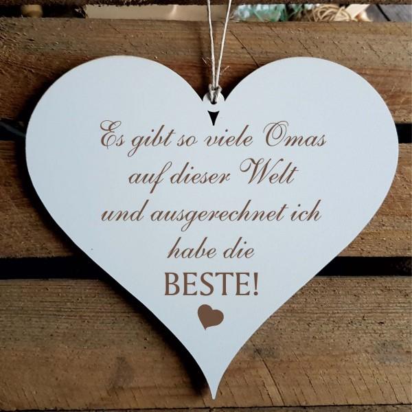 Herz Schild « BESTE OMA » mit Spruch