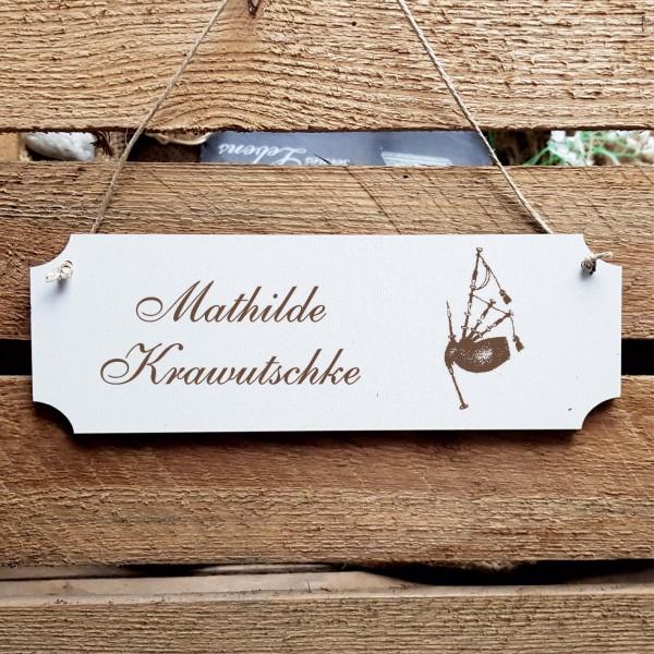 Schild « Dudelsack » Namensschild Türschild zum Anhängen - 20 x 6,7 cm