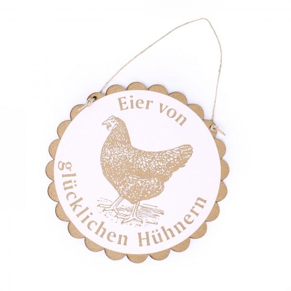 Schild Eier von glücklichen Hühnern mit Motiv schwarzes Huhn • Ø 20 cm