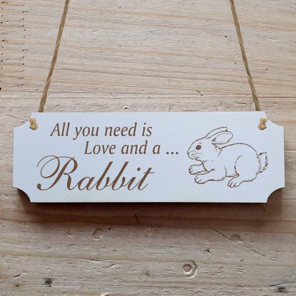Dekoschild « All you need is Love and a Rabbit » Hase 5