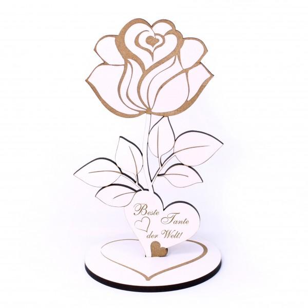 Deko Aufsteller ROSE mit Herz Beste Tante der Welt • 12 x 20 cm
