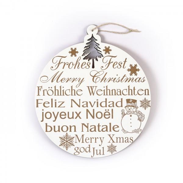 Schild Frohes Fest Tannenbaumkugel mit Motiven 20 x 23 cm