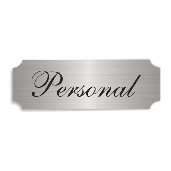 Schild « PERSONAL » selbstklebend - Aluminium Look - silber