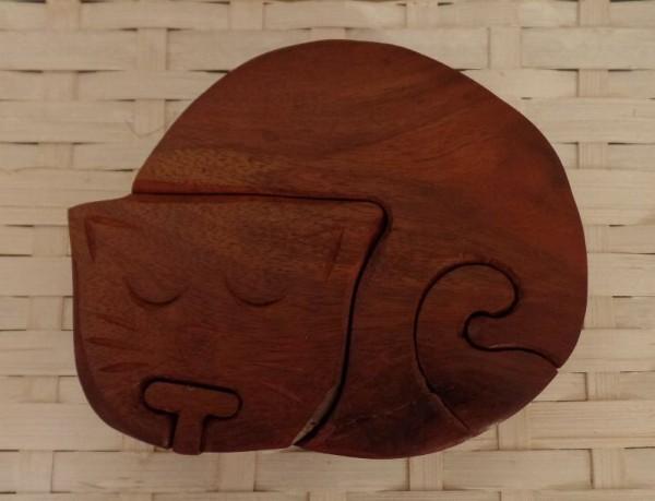 Puzzle Holzschatulle mit Geheimfach « KATZE »