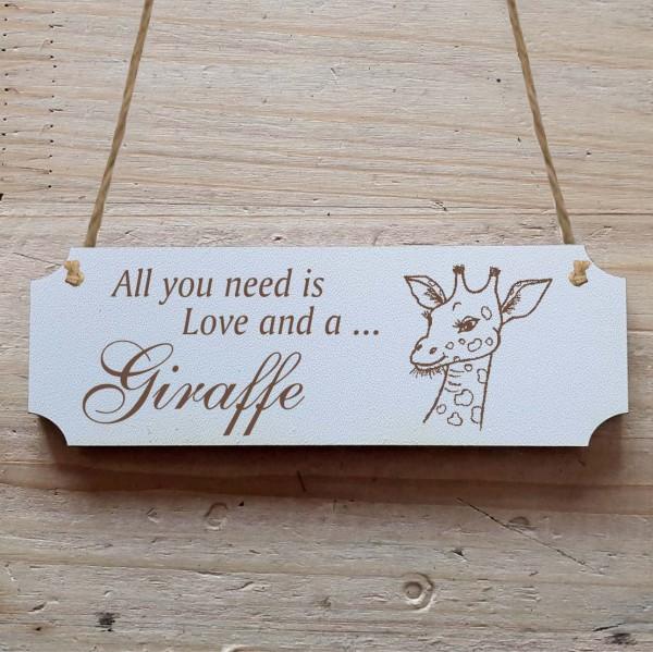 Dekoschild « All you need is Love and a Giraffe » Giraffe 2