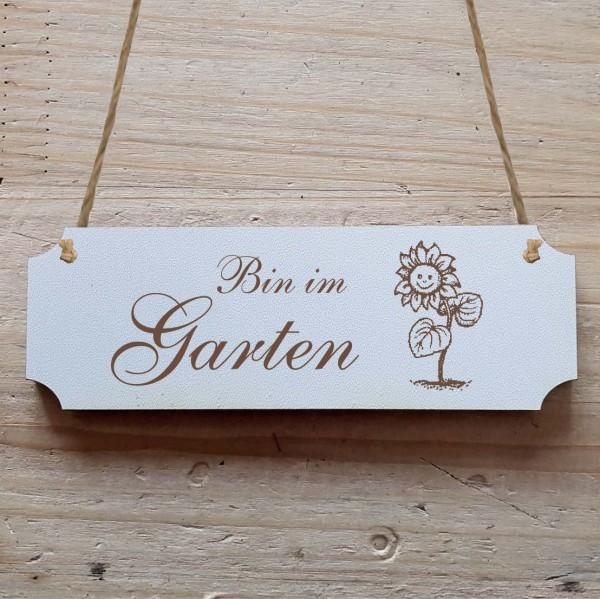 Dekoschild « Bin im Garten »