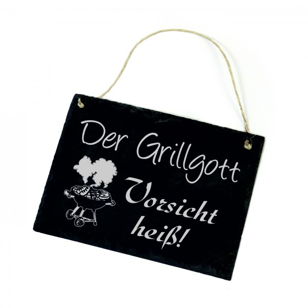 Schiefertafel « Der Grillgott - Vorsicht heiß » Schild Grill - 22x16