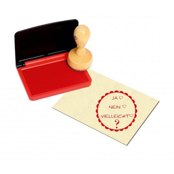 Stempel Ja Nein Vielleicht - Herzen - inkl. Stempelkissen rot