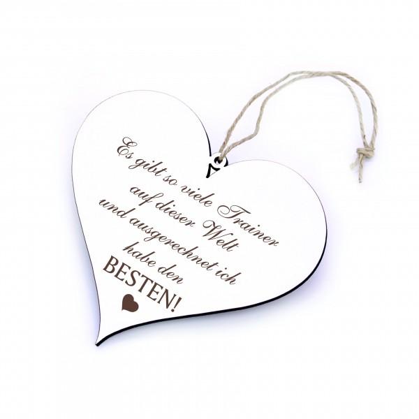 Schild Herz mit Spruch Bester Trainer der Welt - 13 x 12 cm