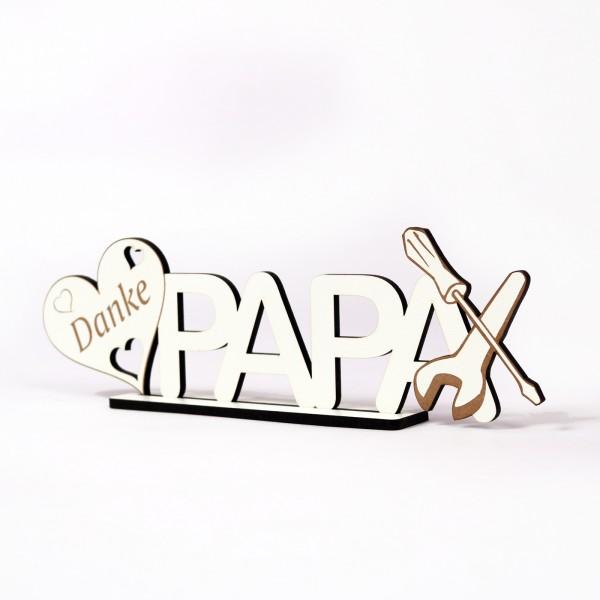 Schild « Danke Papa » zum Hinstellen - mit Herzen und Werkzeug