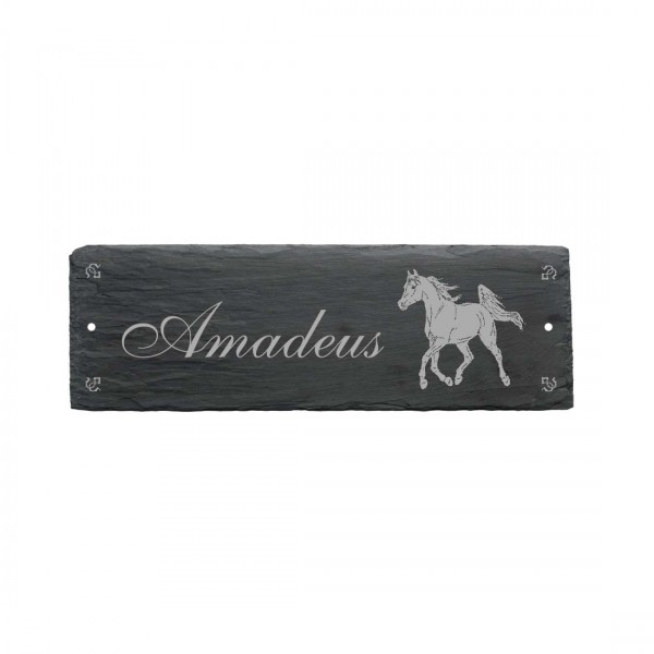 Pferdebox Schild « ARABER + NAME » ca. 22 x 8 cm - aus Schiefer