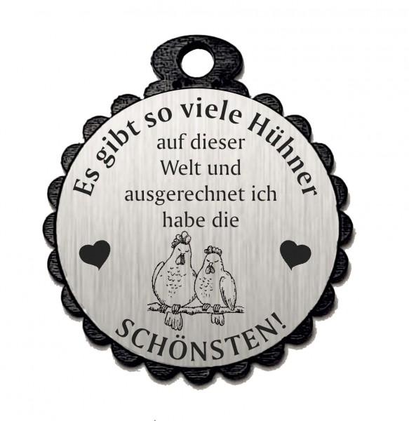 Runder Anhänger « DIE SCHÖNSTEN HÜHNER 04 » mit Motiv HUHN - Aluminium Look - silber