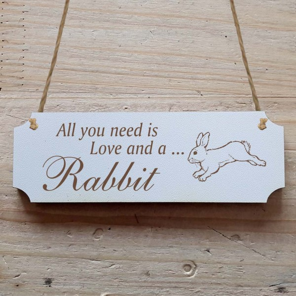 Dekoschild « All you need is Love and a Rabbit » Hase 4