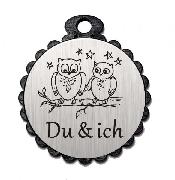 Runder Anhänger « DU & ICH » mit Motiv EULEN - Aluminium Look - silber