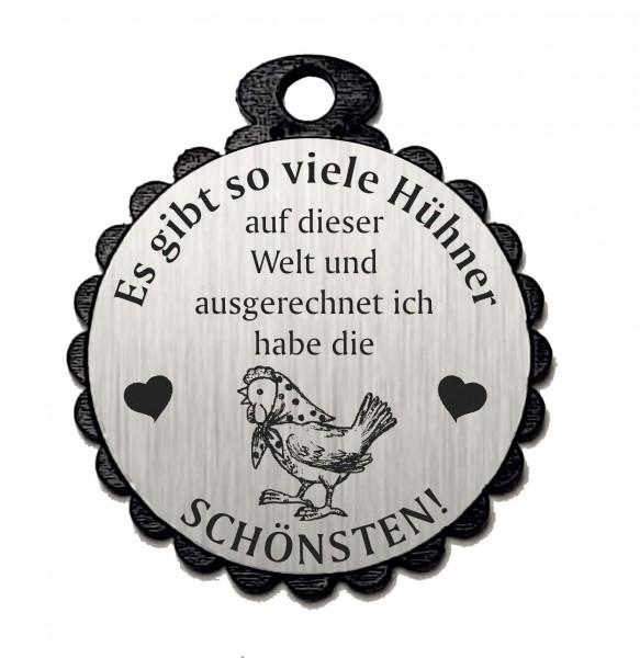 Runder Anhänger « DIE SCHÖNSTEN HÜHNER 06 » mit Motiv HUHN - Aluminium Look - silber