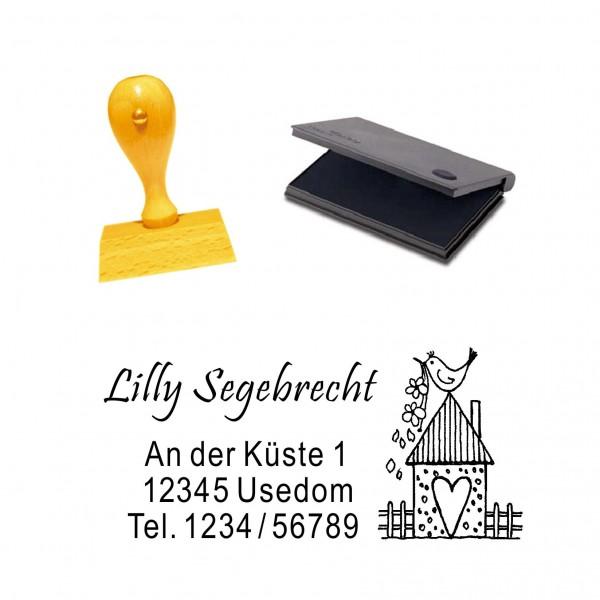 Stempel Vogelhaus Herz - mit persönlicher Adresse und Stempelkissen